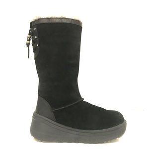 UGG Klarissa Boots Black Waterproof Tassel Beaded